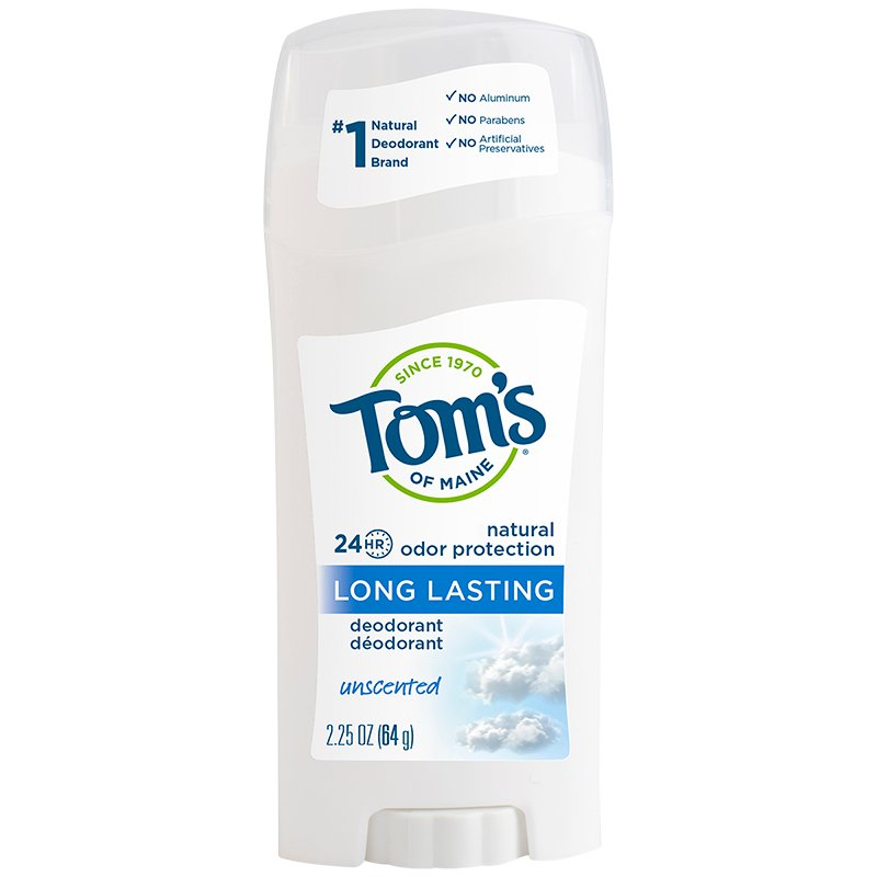 Tom's of Maine Deodorant Stick Long Lasting - Unscented - 64g