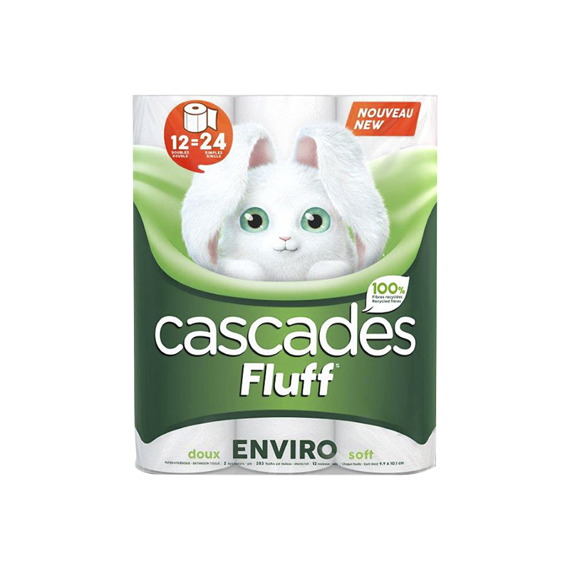 Cascades Fluff Enviro Double Roll Bathroom Tissue - 12's