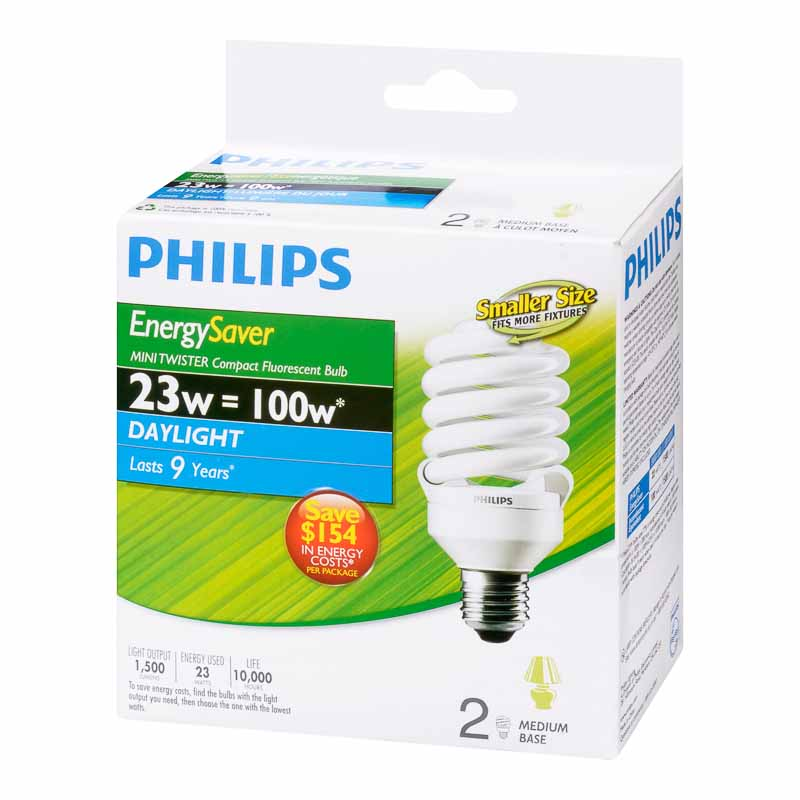 Philips Energy Saver Minitwister CFL Bulb - Daylight - 2 pack