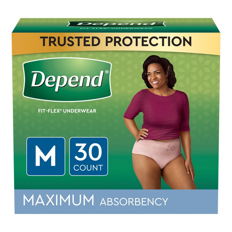 Depend Fit-Flex Underwear for Women Maximum Absorbency - Medium - 30's