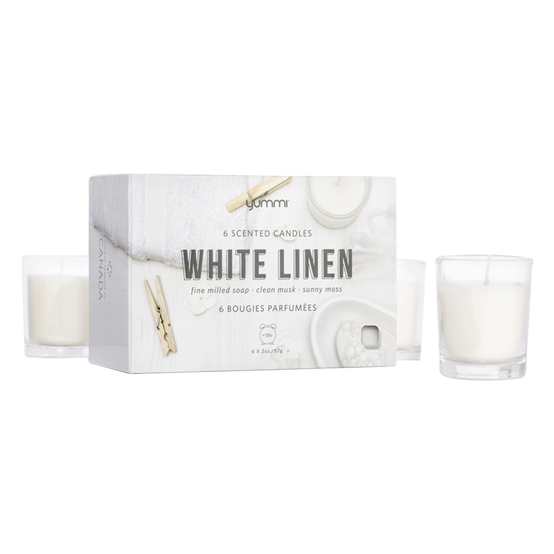 Yummi Votive Candle - White Linen - 6 pack