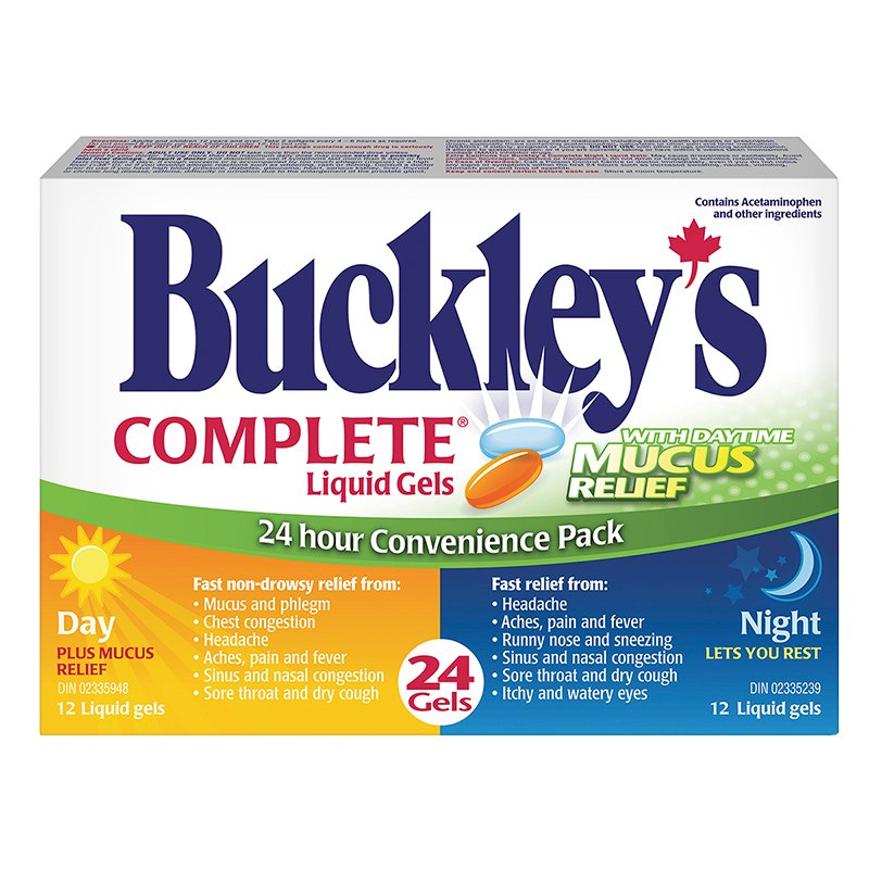 Buckley S Complete Liquid Gels 24 Hour Convenience Pack With Daytime Mucous Relief 24 S