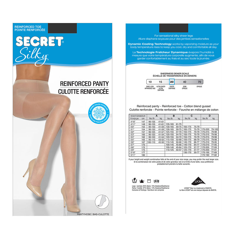 Secret Regular Silky Sheer Pantyhose - D - Nightshade