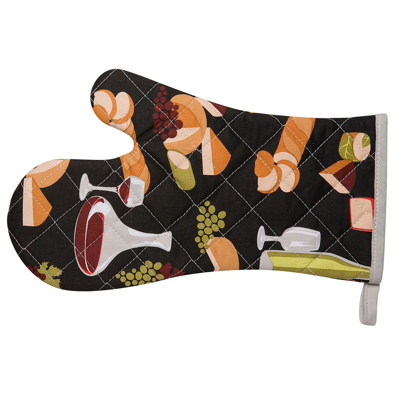 Kitchen Style Basic Oven Mitt - Wine and Cheese