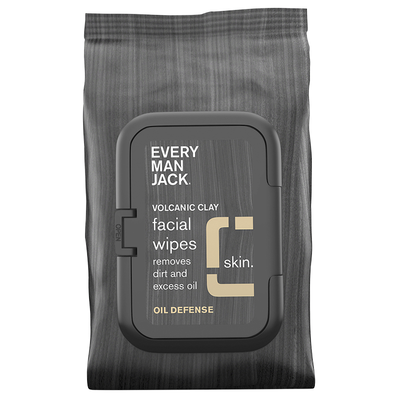 Every Man Jack Volcanic Clay Facial Wipes - Oil Defense - 30's