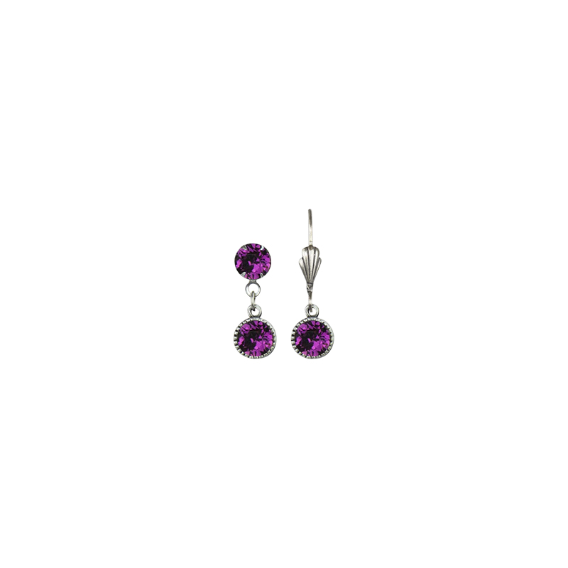 Anne Koplik Drop Bezel Brass Earrings - Amethyst
