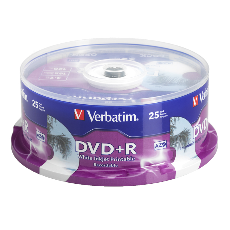 image regarding Printable Dvd-r titled Verbatim DVD+R 4.7GB Blank DVD - 16X - Inkjet Printable - 25 pack