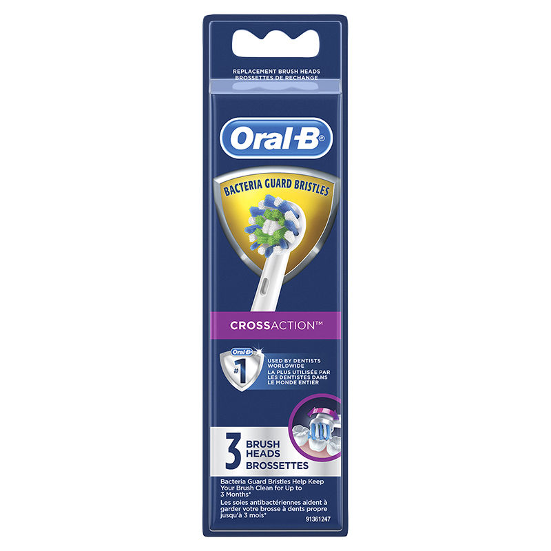 Oral-B CrossAction Bacteria Guard Brush Heads - 3's
