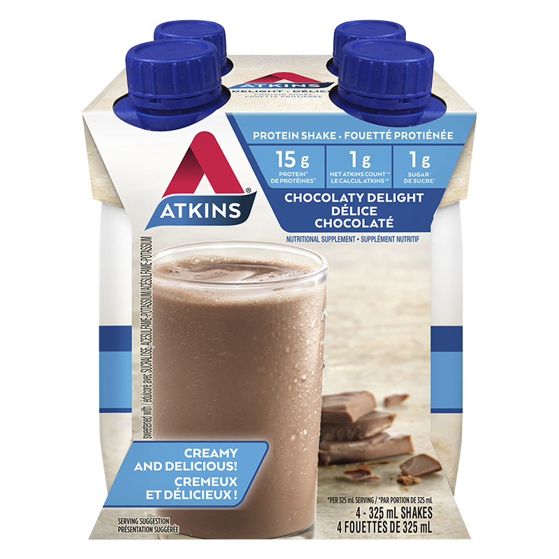 Atkins Protein Rich Shake - Milk Chocolate Delight - 4 x 325ml