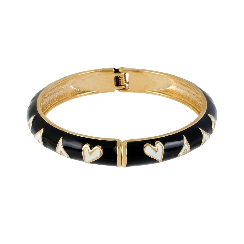 Betsey Johnson Heart Bangle Bracelet - Black & White