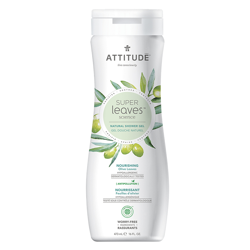 Attitude Super Leaves Science Natural Shower Gel - Nourishing Olive Leaves - 473ml