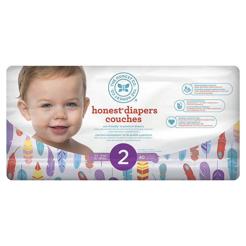 The Honest Company Honest Diapers - Size 2 - 40s - Feather Print