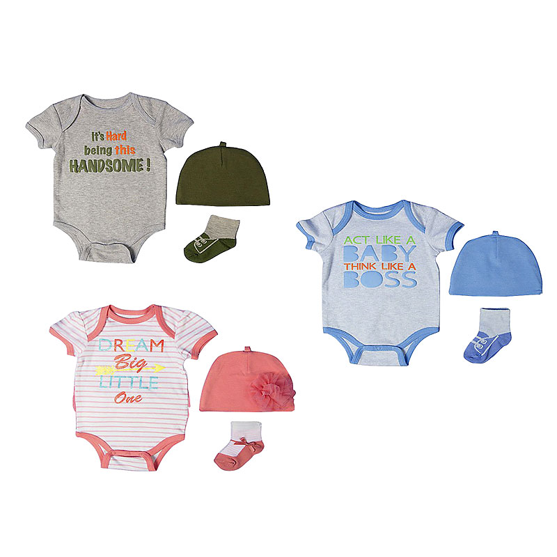 Baby Mode 3-Piece Bodysuit Set - 0-9 months - Assorted