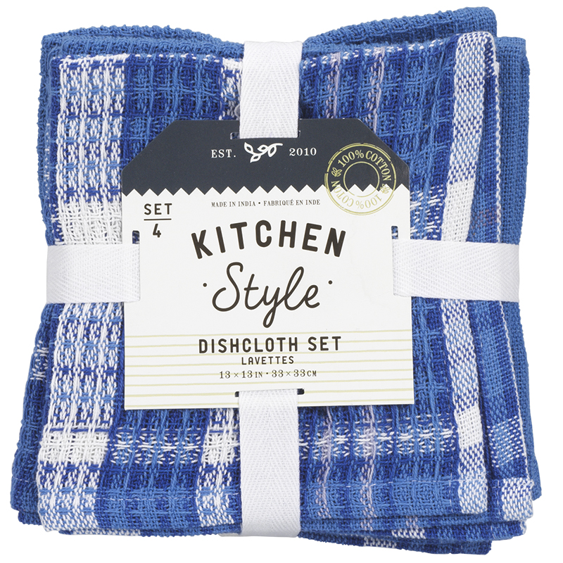 Kitchen Style Waffle Dish Cloth - Blue - 4 pack
