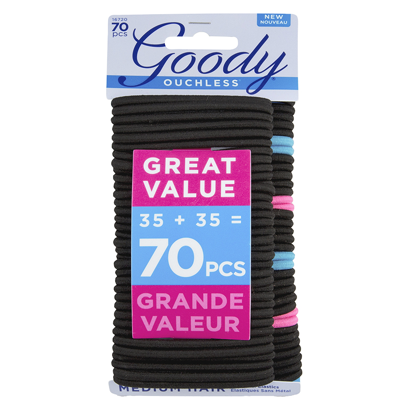 Goody Ouchless No Metal Elastics Medium Hair - 16720 - 70's
