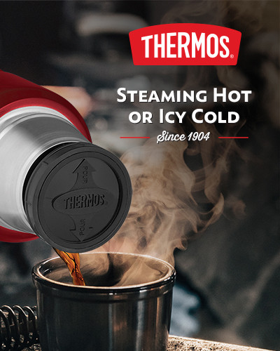 Thermos, steaming hot or icy cold since 1904.